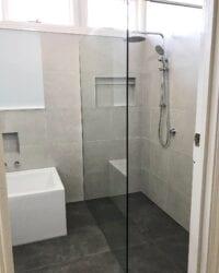 frameless shower glass bathroom renovation