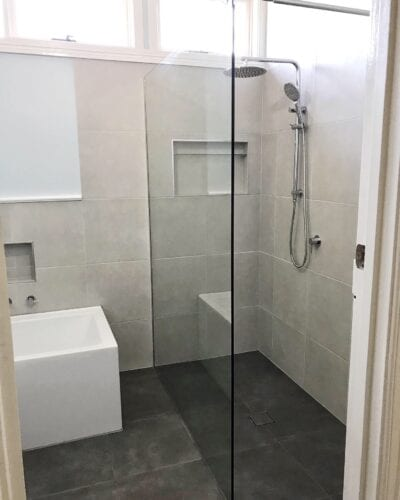 frameless shower glass bathroom renovation