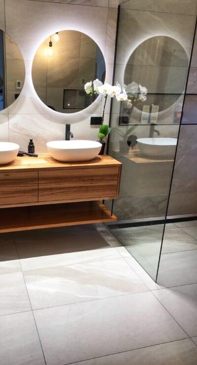 bathroom renovation backlit mirror